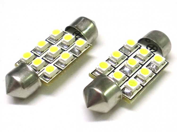 24V Lampada Led Siluro T11 C5W 36mm 9 Smd Bianco Camion